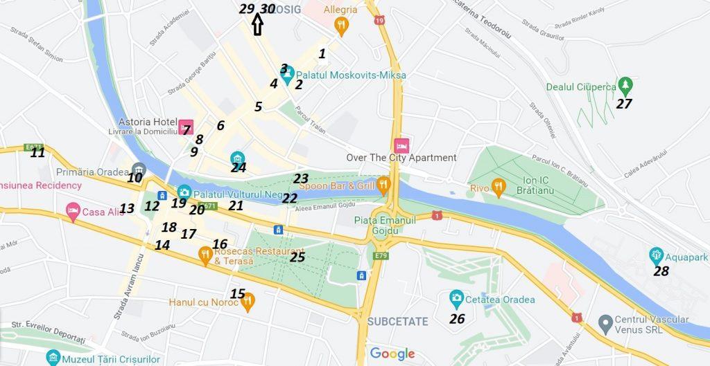 harta obiective turistice oradea